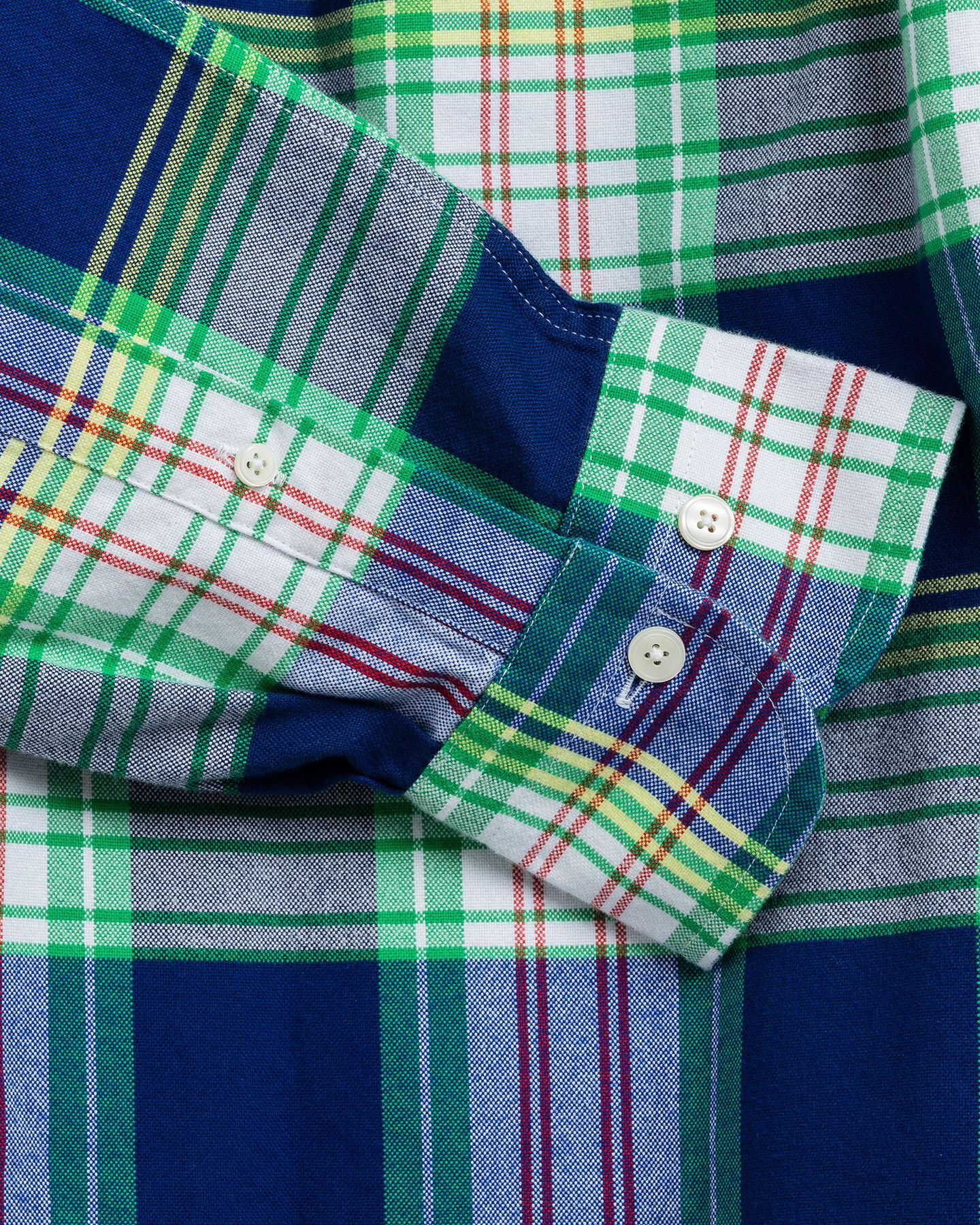 Gebürstetes Regular Fit Oxford-Hemd mit leuchtendem Tartan-Muster