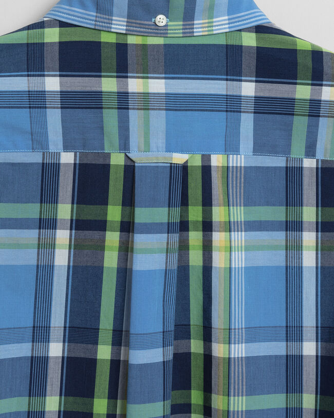 Tech Prep™ Regular Fit Hemd mit Tartan-Muster und Waschung in Indigoblau