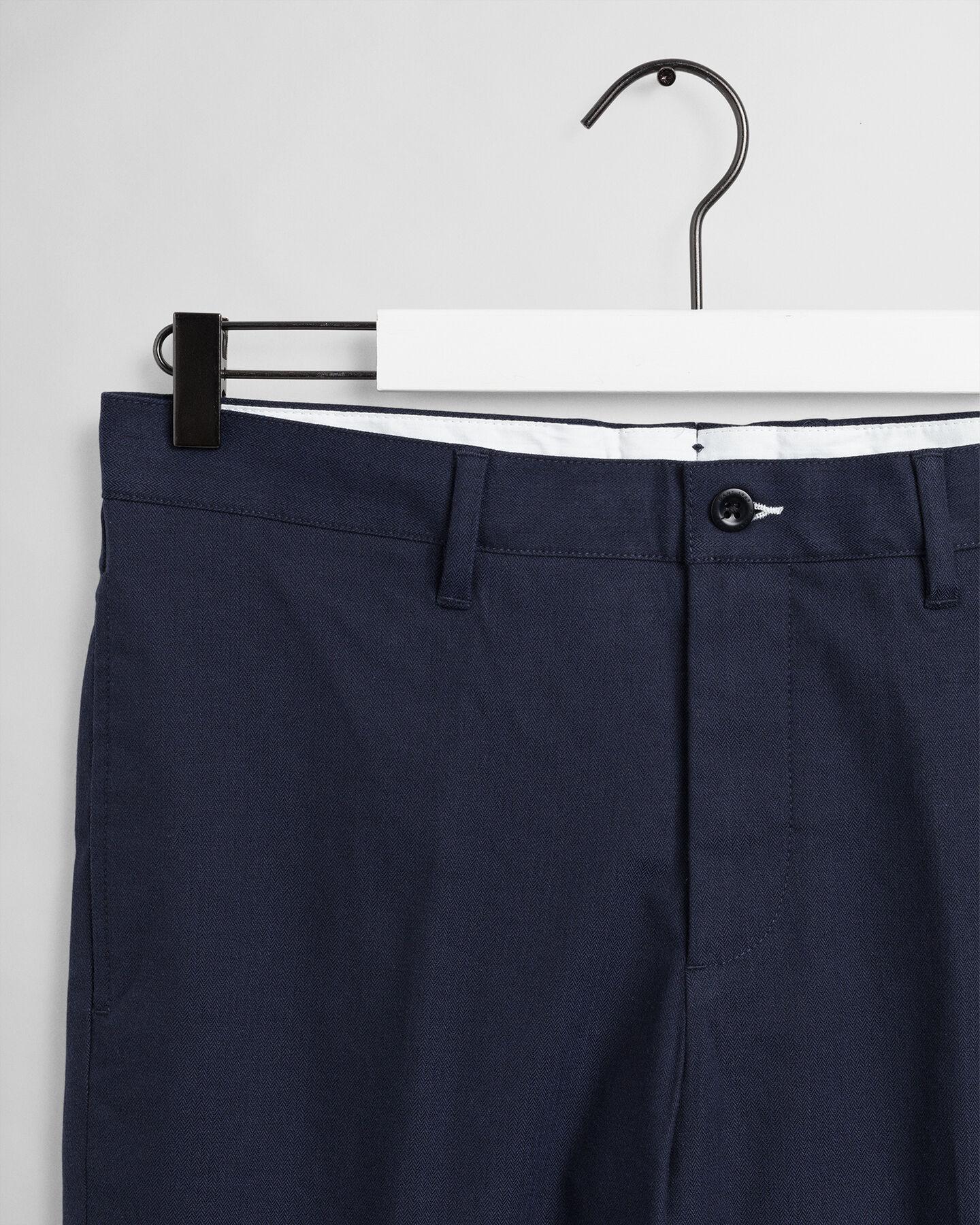 Slim Fit Hose mit Fischgrätmuster
