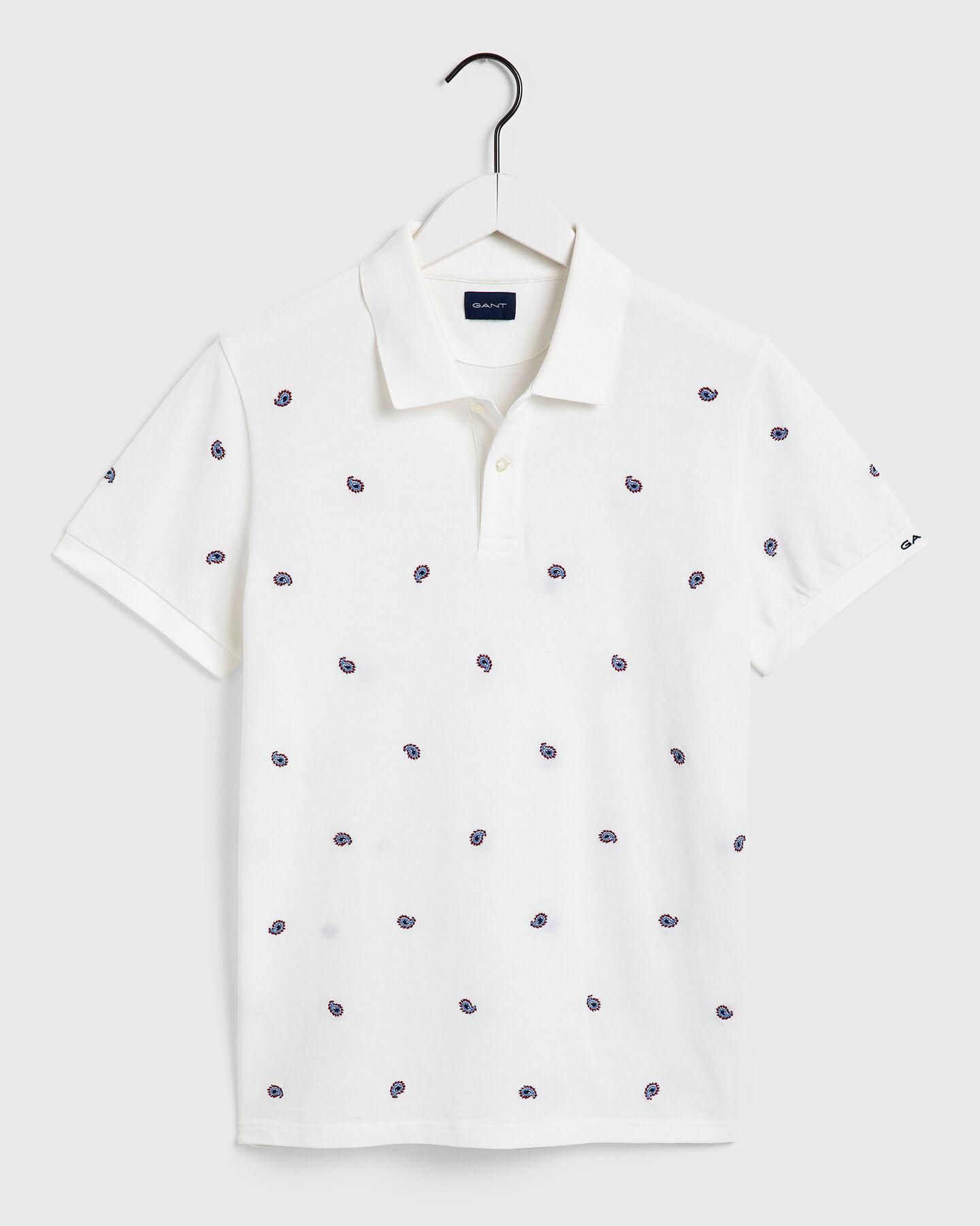 Piqué Poloshirt mit Paisley