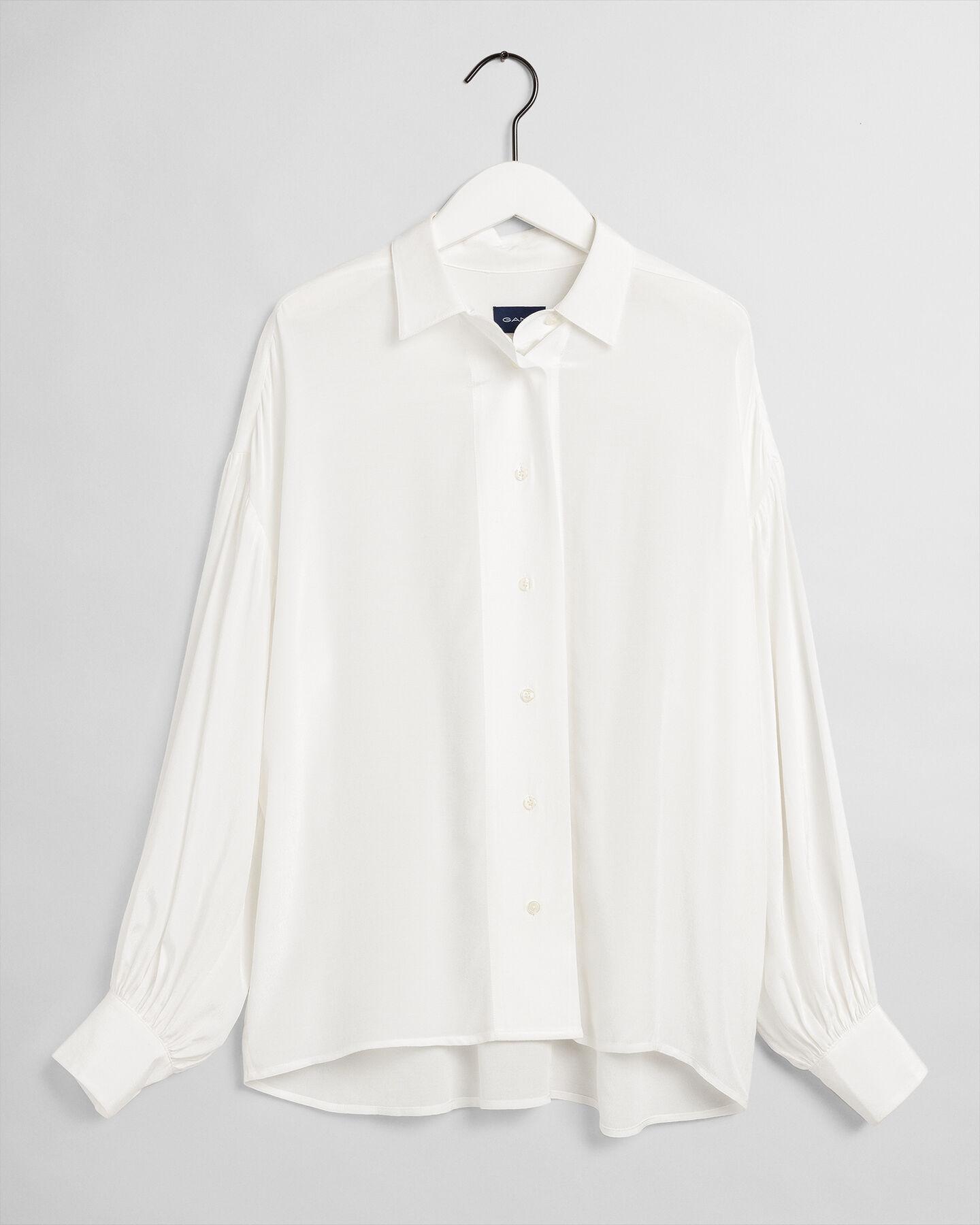 Fließende Bluse mit Puffärmeln