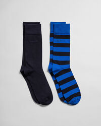 2er-Pack Socken Blockstreifen & Einfarbig