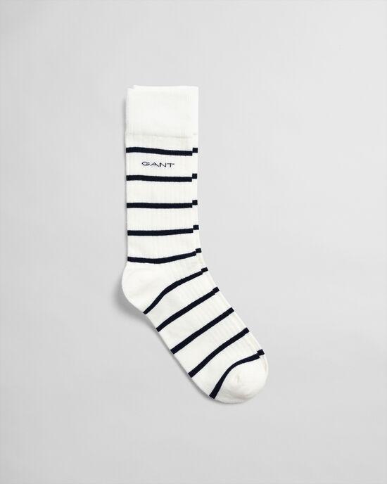 Gerippte Socken mit Marinestreifen