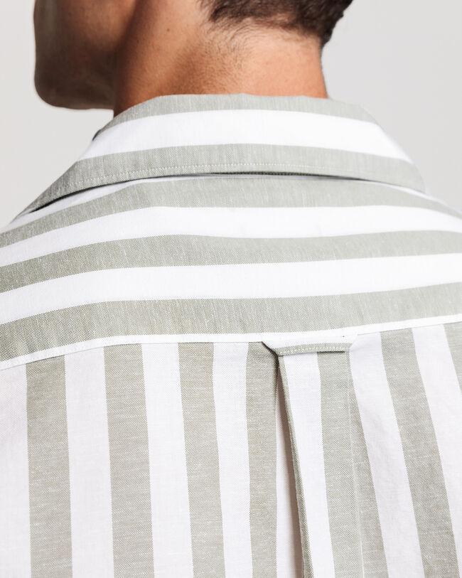 Regular Fit Baumwoll Leinen Oxford-Hemd mit Riviera-Kragen und Streifen