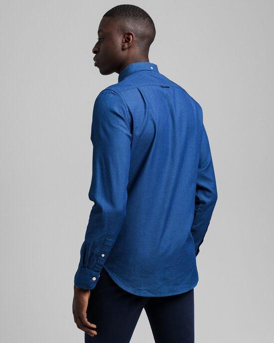 Tech Prep™ Slim Fit Dobby Hemd in Indigoblau