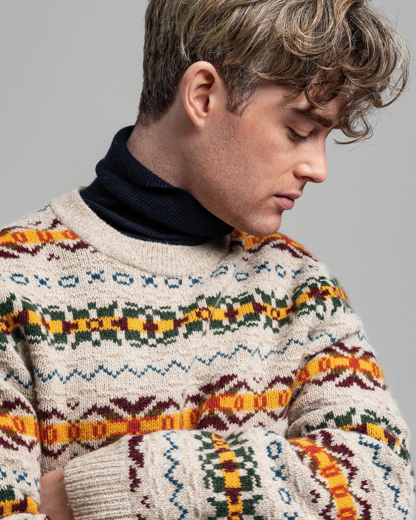 Textured Rundhalspullover mit Fair-Isle-Muster
