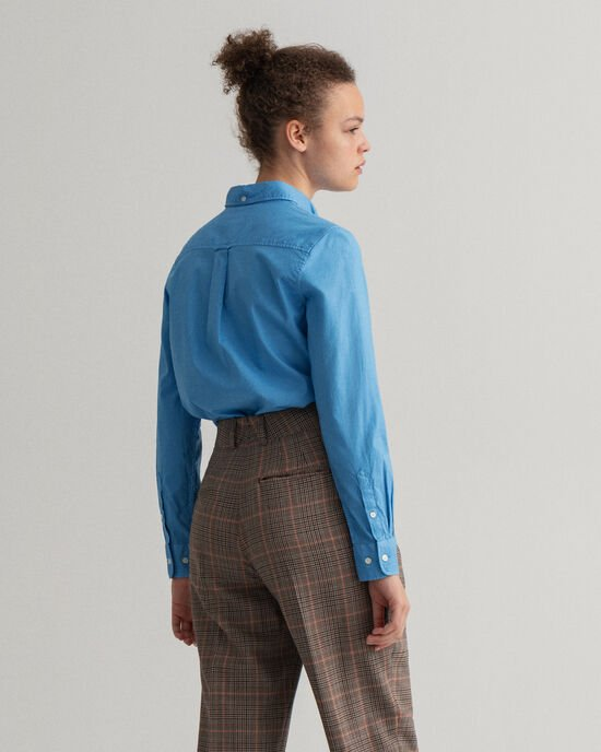 Garment-Washed Oxford-Bluse