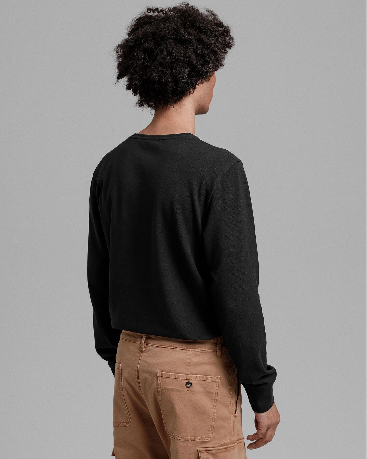 Slim Fit Piqué Langarmshirt