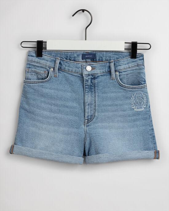 Teen Girls Monogram High Waisted Denim Shorts