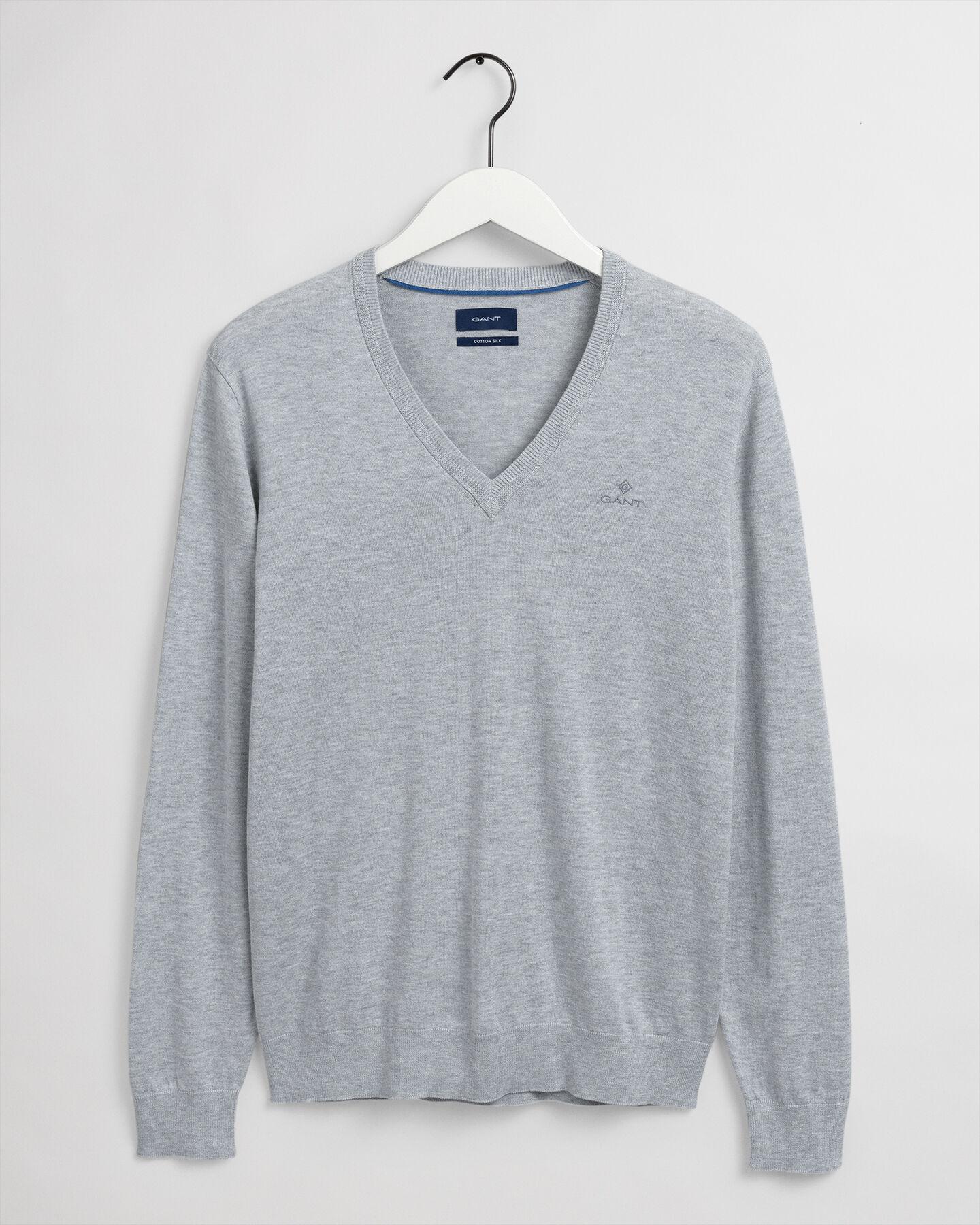 Baumwoll Seiden V-Neck Pullover