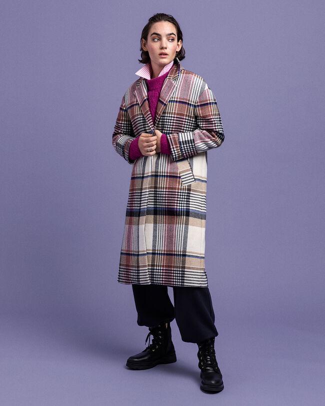 Mantel aus Wollmischung mit Karomuster