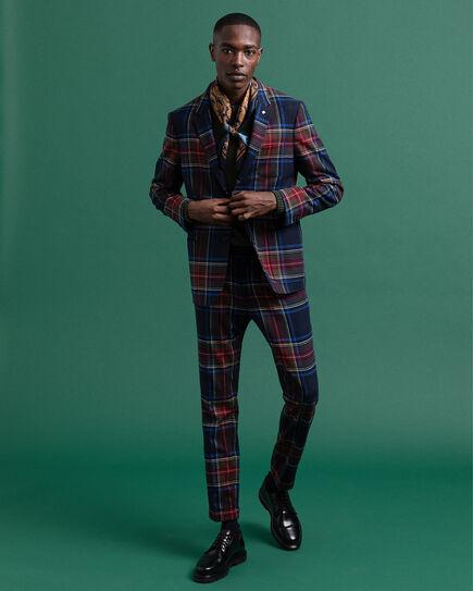 Slim Fit Hose mit Bügelfalte und Tartan-Muster