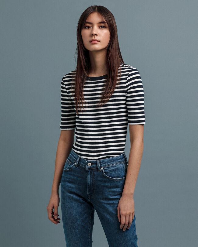 Geripptes T-Shirt mit Streifen