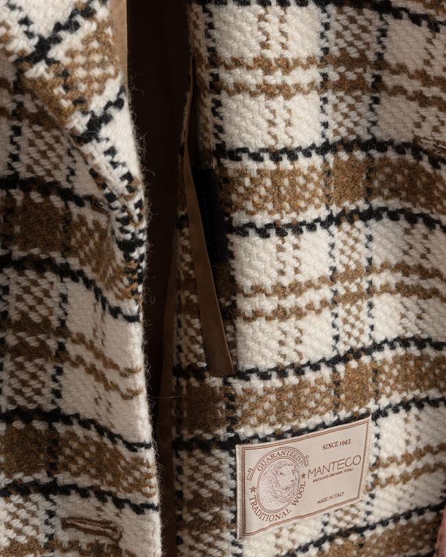 Tweedmantel mit Shearling-Kragen