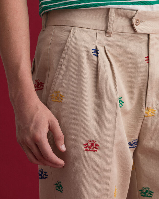 Crest Chinohose mit Stickerei