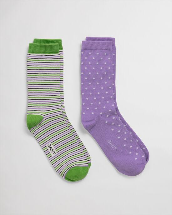 2er-Pack Socken Gepunktet & Gestreift