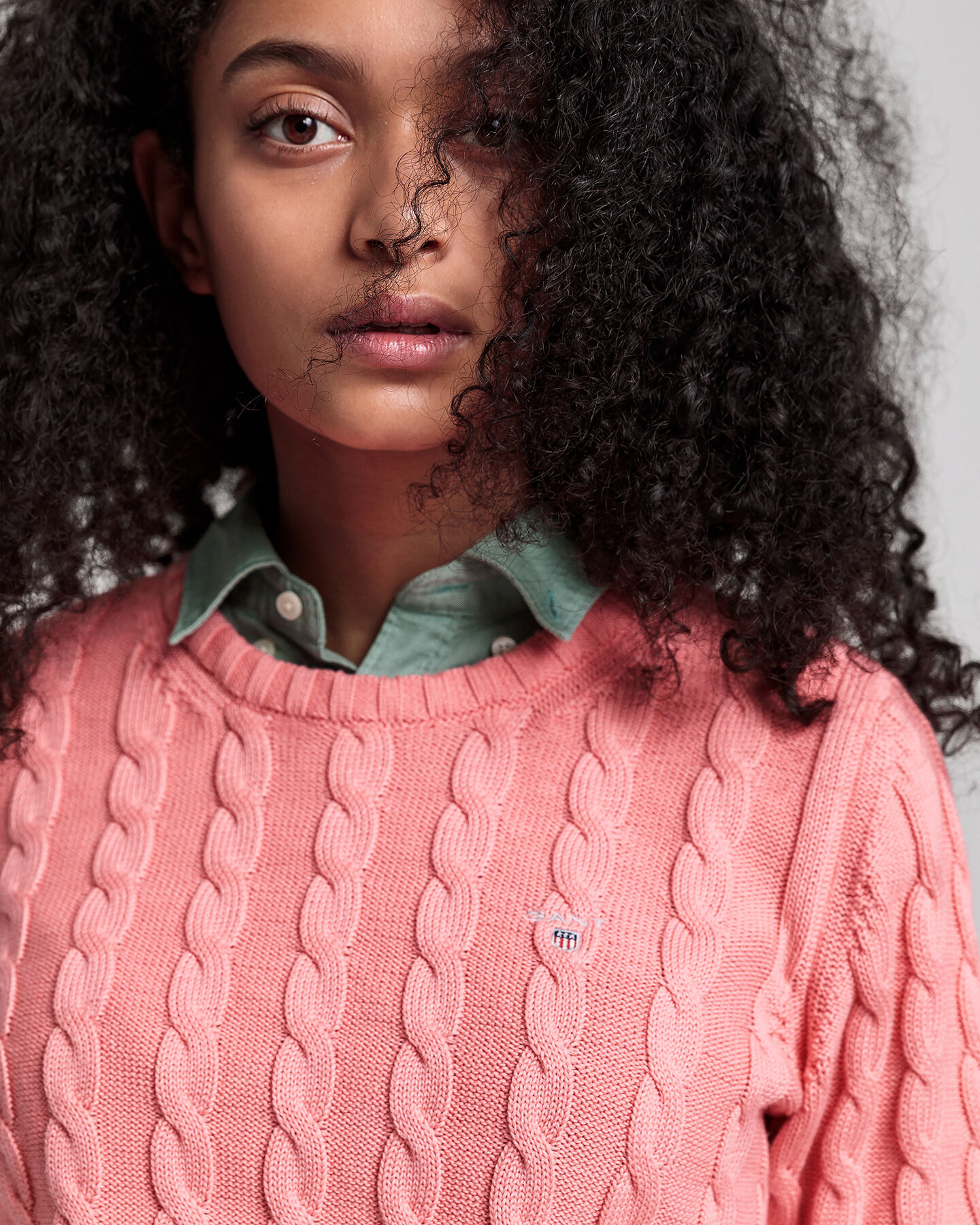 Teen Girls Rundhalspullover aus Baumwolle mit Zopfmuster