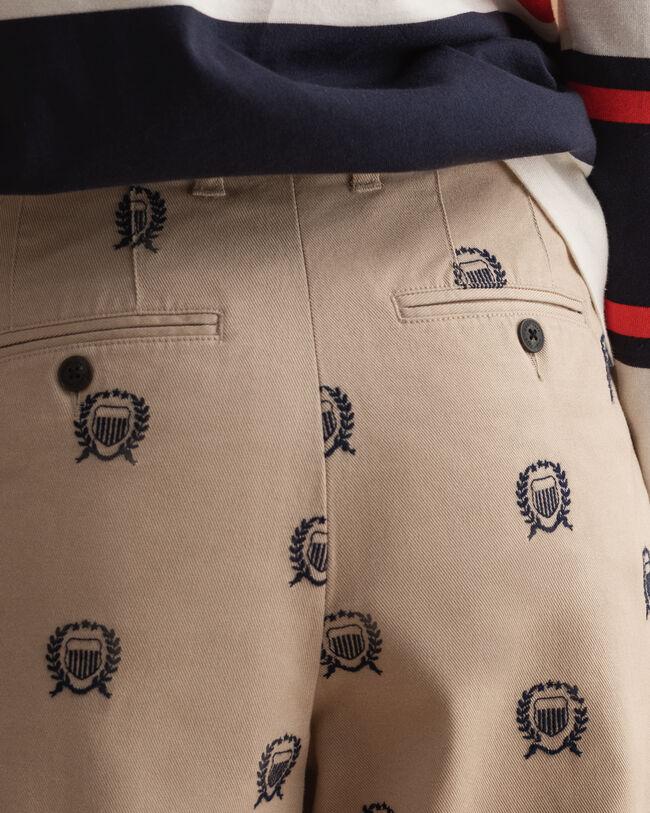 Crest Bundfalten-Chinohose mit hohem Bund und Stickerei