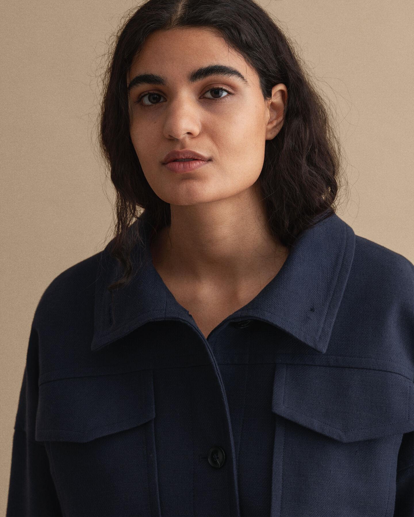 Cropped Jacke aus Leinenmischung
