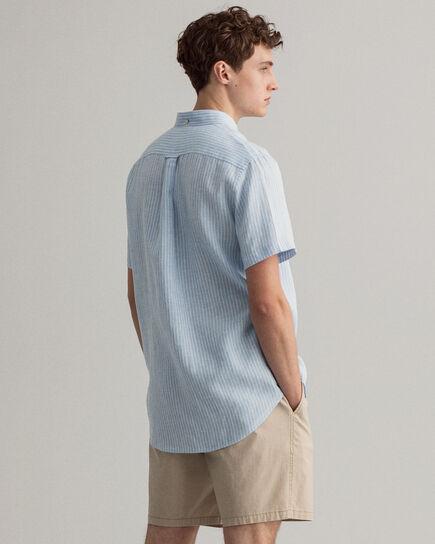 Regular Fit Leinen Kurzarm Hemd mit Streifen