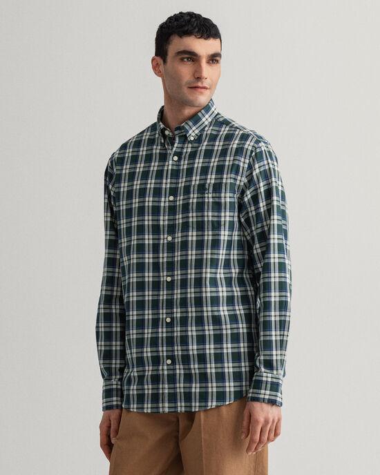 Tech Prep™ Indigoblaues Regular Fit Oxford-Hemd mit Karomuster