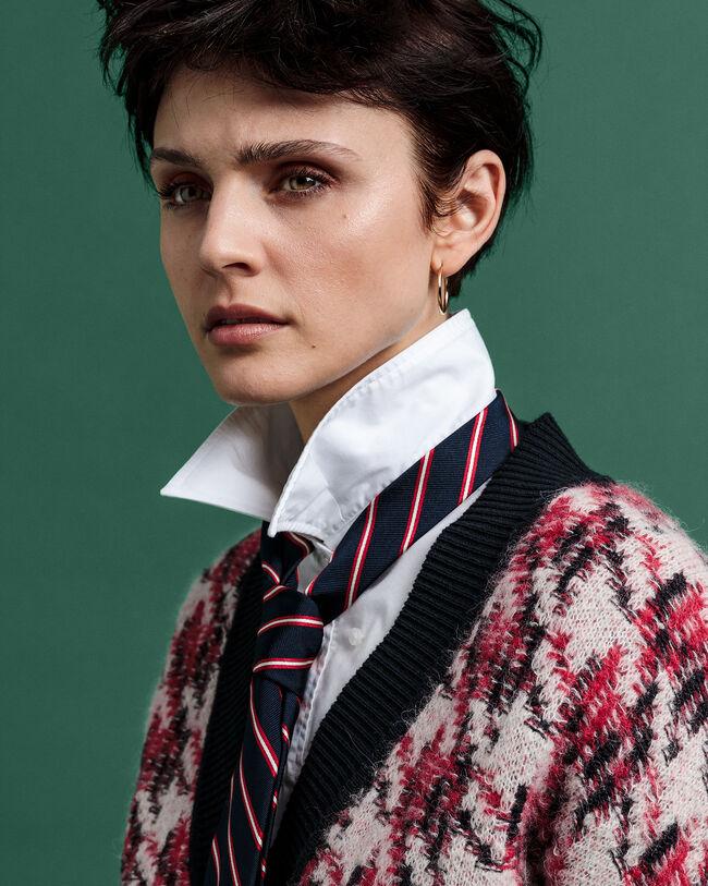 Pullover im Intarsienstrick mit Hahnentrittmuster