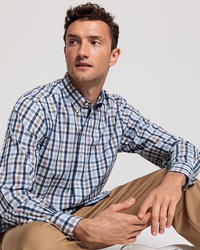 Tech Prep™ Indigoblaues Regular Fit Broadcloth Hemd mit Karomuster