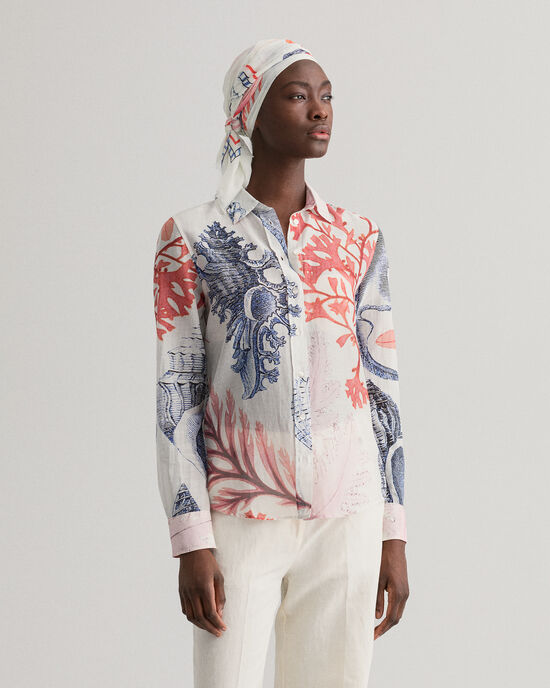 Seashell Bluse aus bedruckter Baumwolle mit Seidenanteil