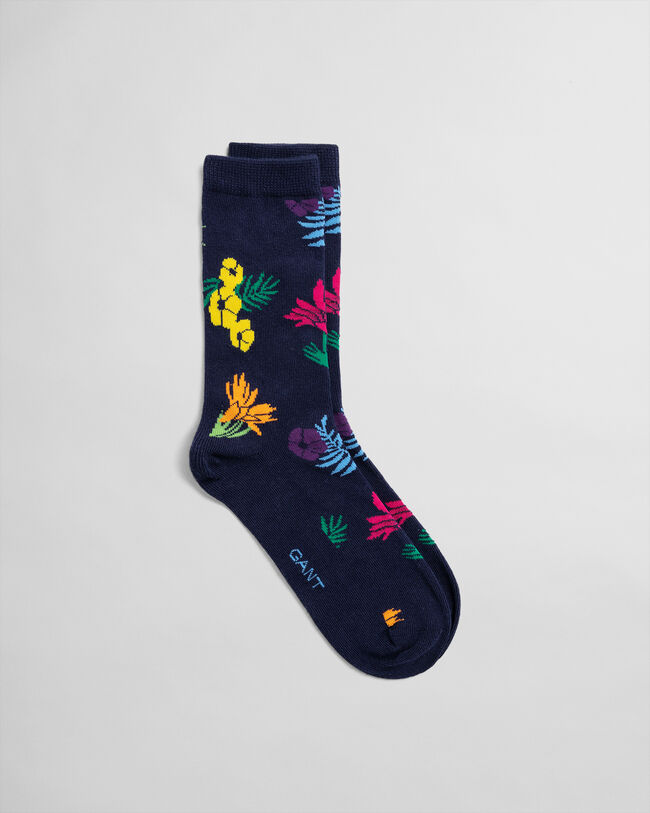 Socken mit Intarsienstrickerei