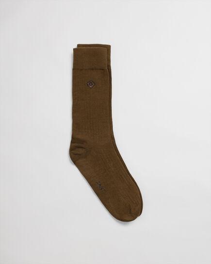 Einfarbige gerippte Socken mit Stickerei