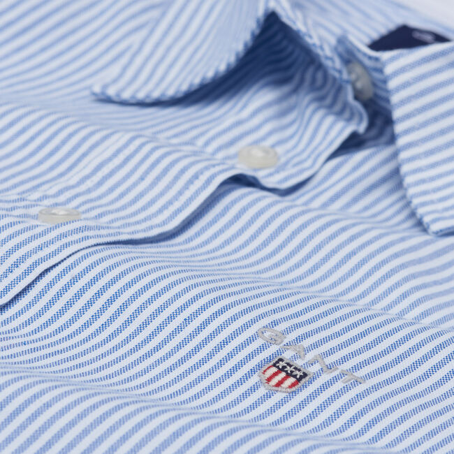 Stretch Oxford-Bluse mit Bankerstreifen