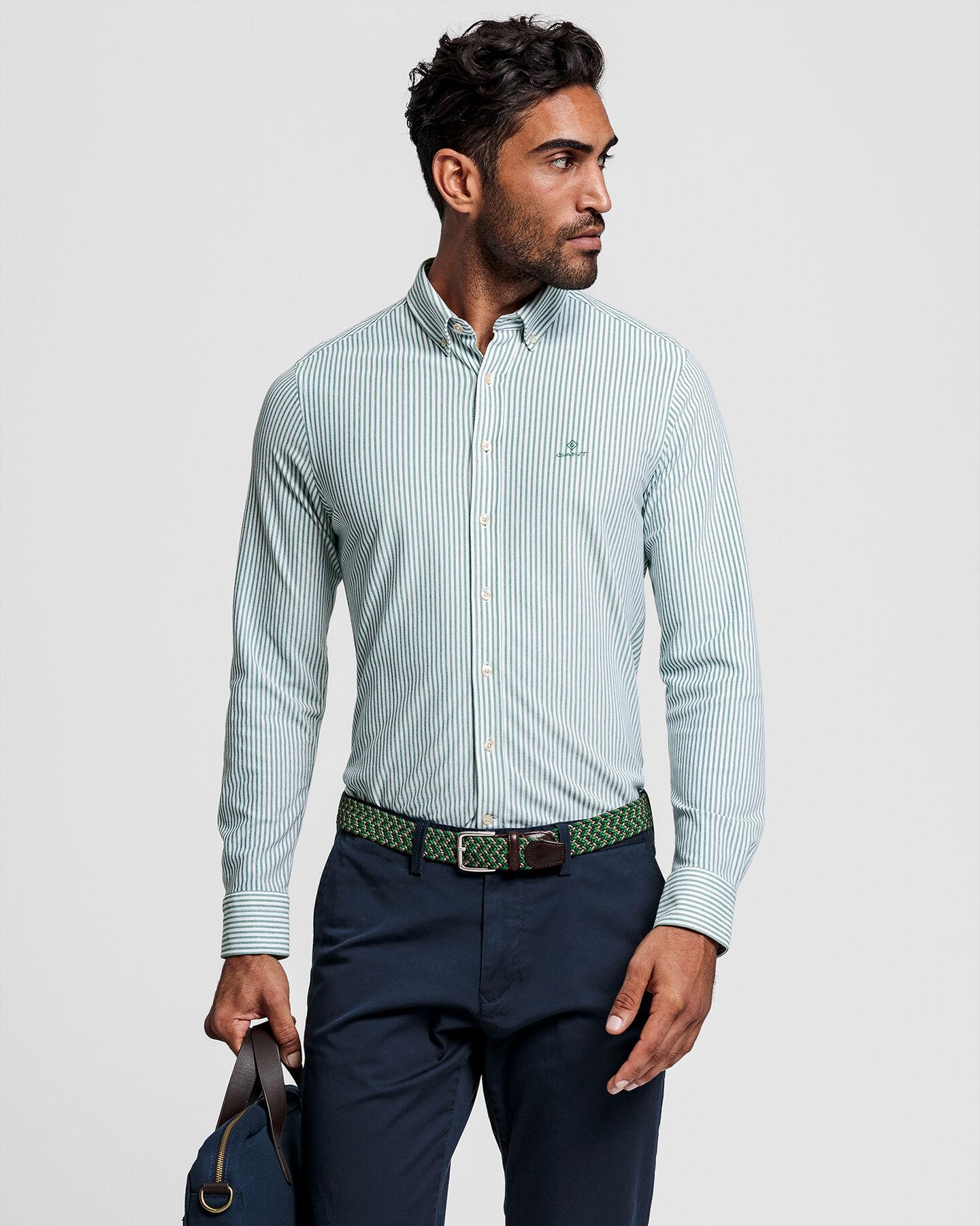 Tech Prep™ Regular Fit Piqué Hemd mit Streifen