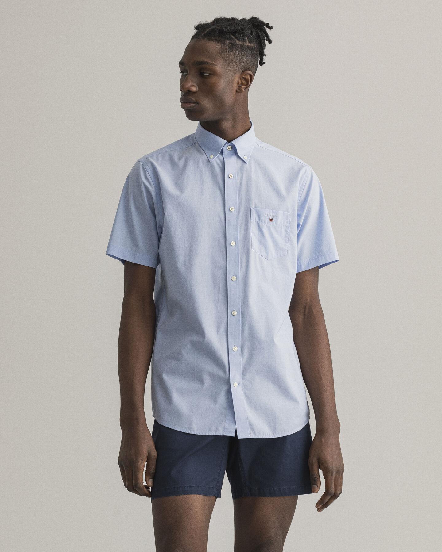 Regular Fit Broadcloth Kurzarm Hemd