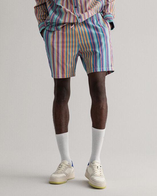 Gestreifte Logo Shorts mit Kordelzug