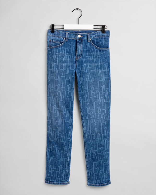 Teen Girls Cropped Jeans mit Allover-Logo