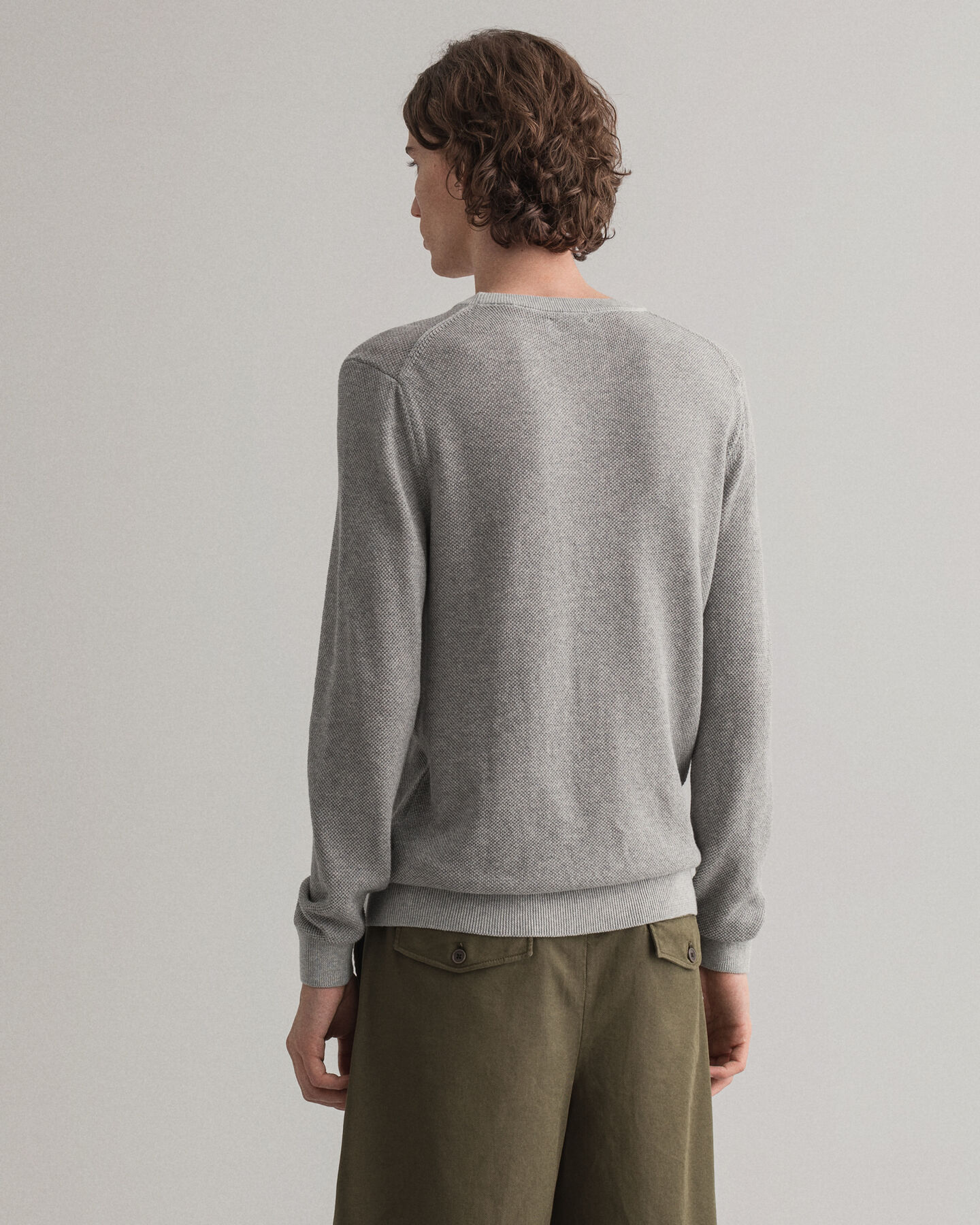 Texture Piqué Rundhalspullover