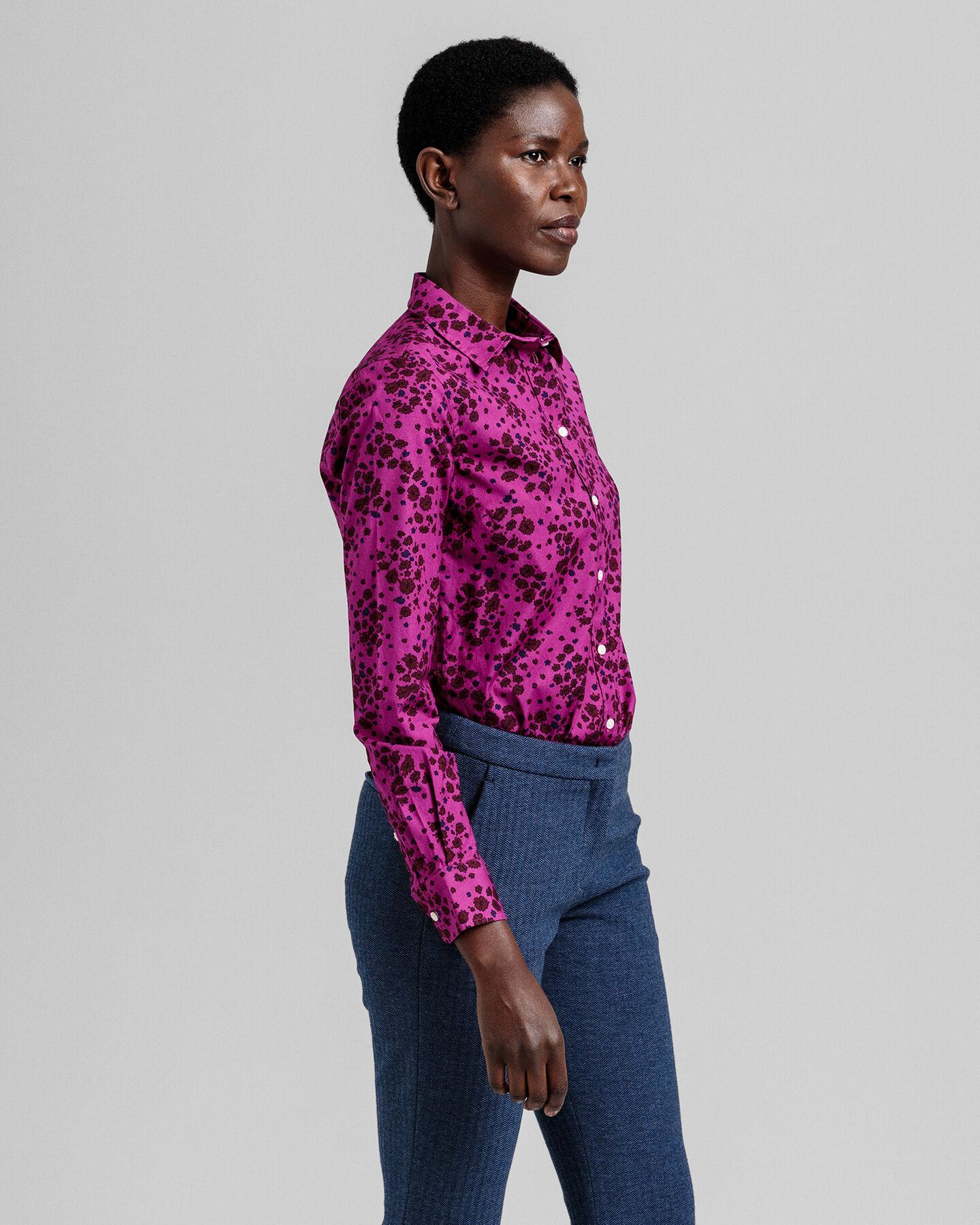 Fall Flower Stretch Broadcloth Bluse