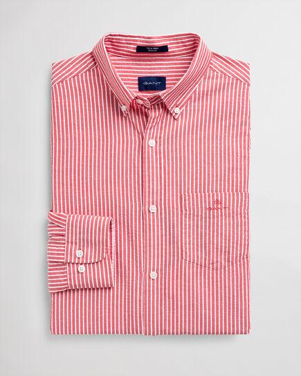 Tech Prep™ Regular Fit Seersucker Hemd mit Streifen