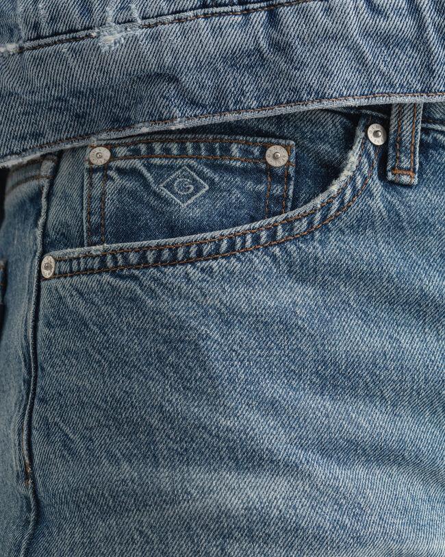 High Waisted Cropped Jeans mit geradem Bein