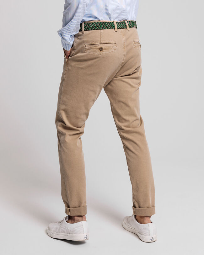 Leichte Slim Fit Canvas Chinohose