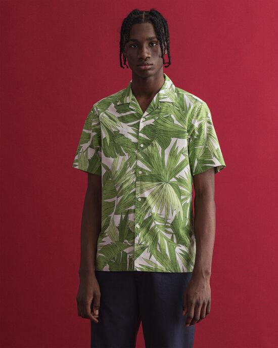 Palm Breeze Regular Fit Kurzarm Hemd mit Print