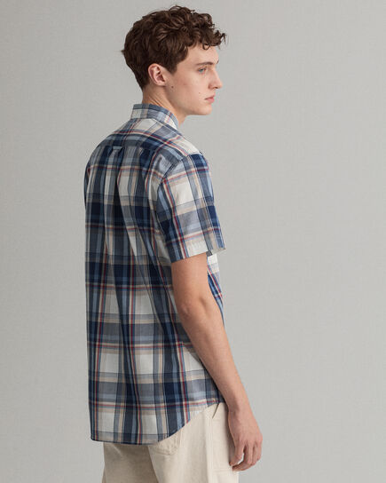 Tech Prep™ Regular Fit Kurzarm Hemd mit Tartan-Muster in Indigoblau