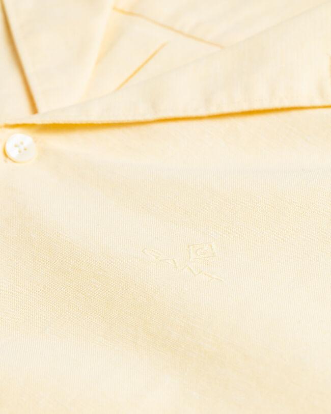Regular Fit Baumwoll Leinen Oxford-Hemd mit Riviera-Kragen
