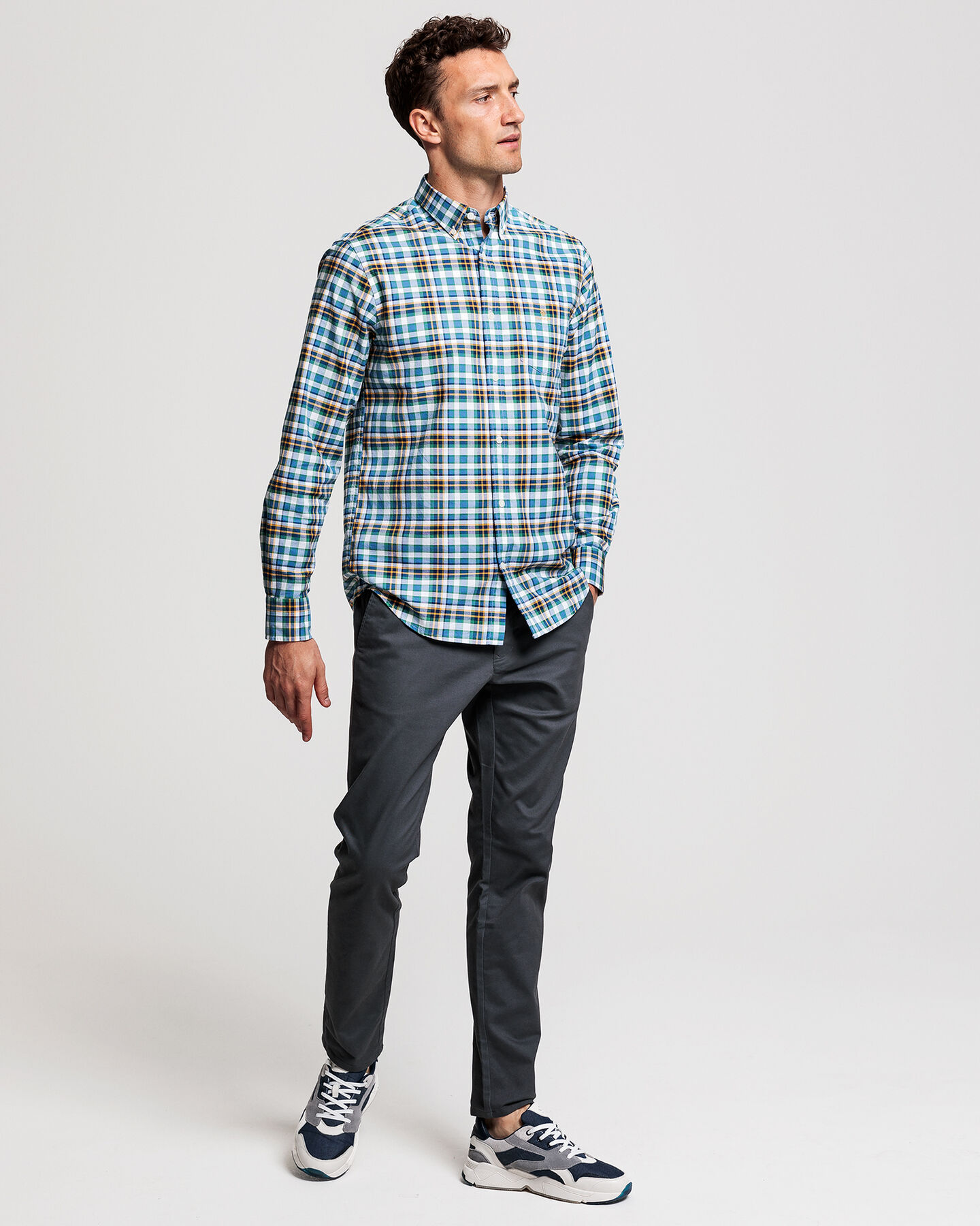Preppy Regular Fit Tartan Oxford-Hemd