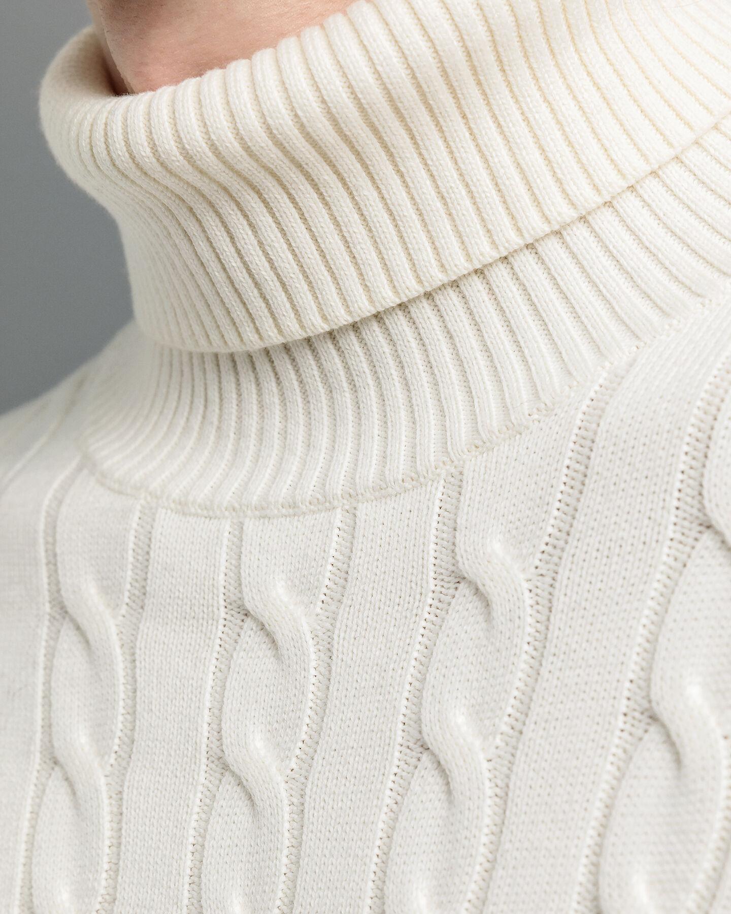 Rollkragenpullover aus Baumwolle mit Zopfmuster