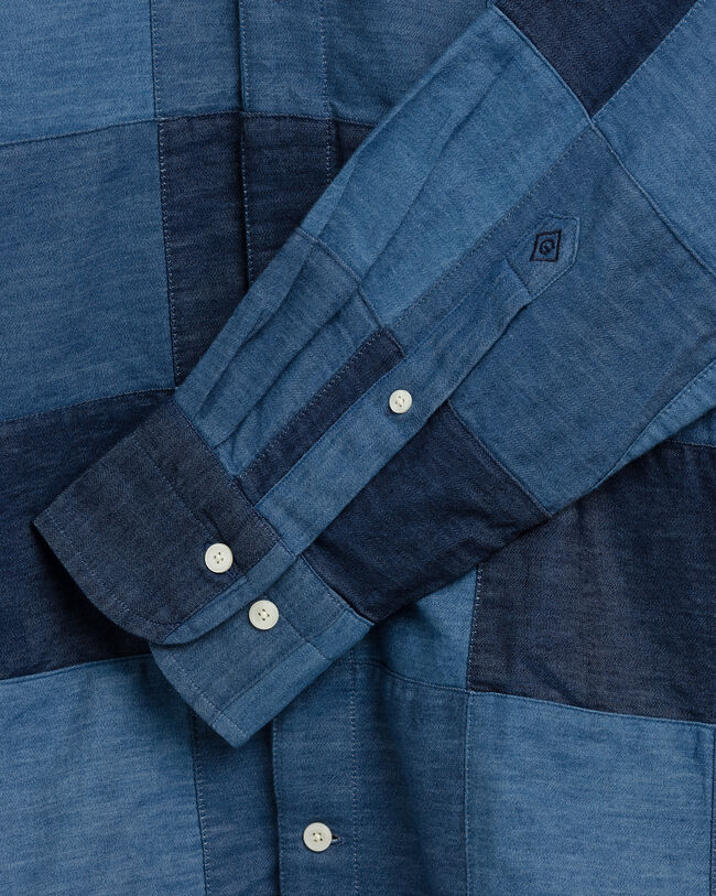 Relaxed Fit Patchwork Hemd in Indigoblau