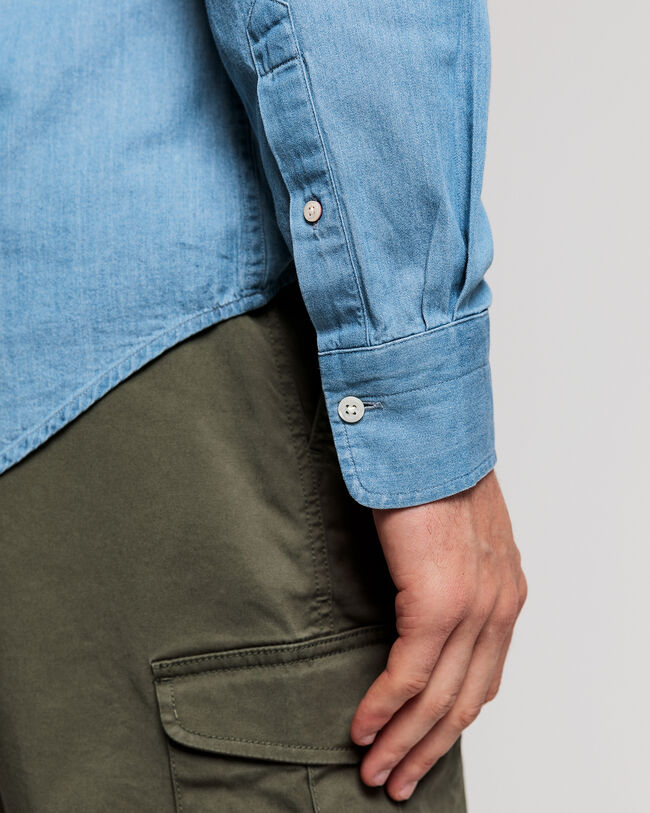 Indigoblaues Slim Fit Hemd