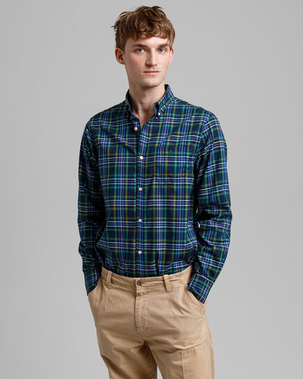 Tech Prep™ Regular Fit Oxford-Hemd mit Mini-Tartan-Muster