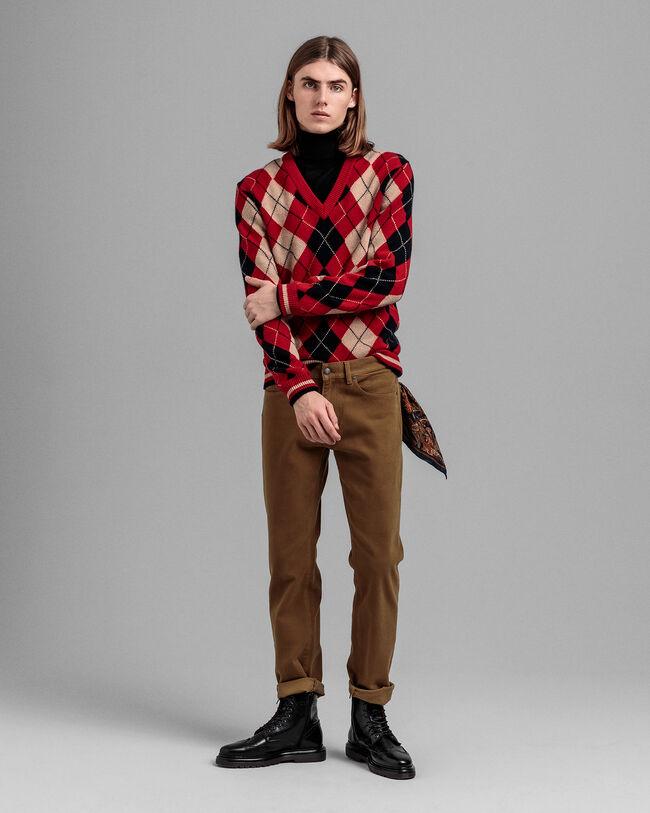V-Neck Pullover mit Argyle-Muster