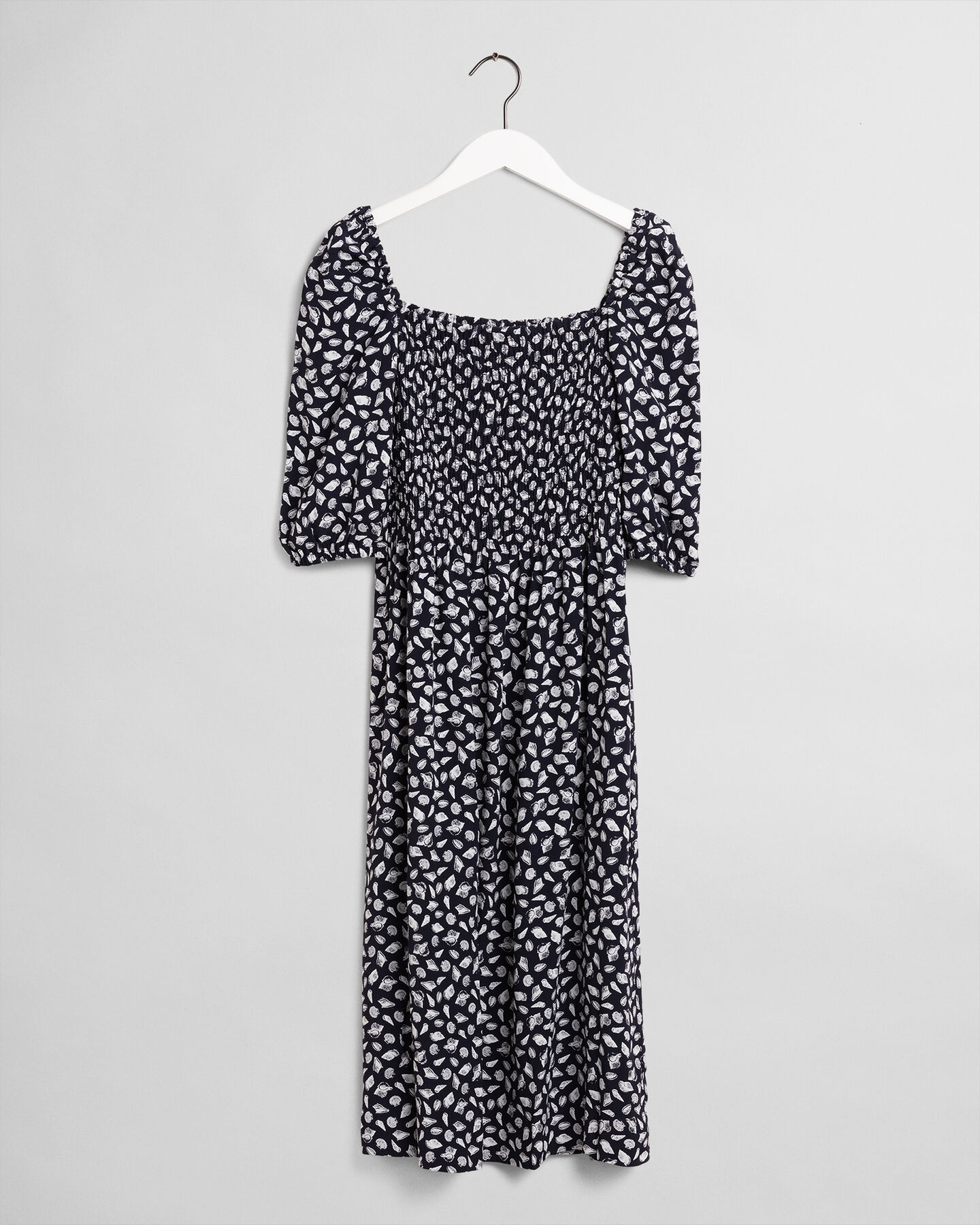 Schulterfreies Shell Kleid mit Print